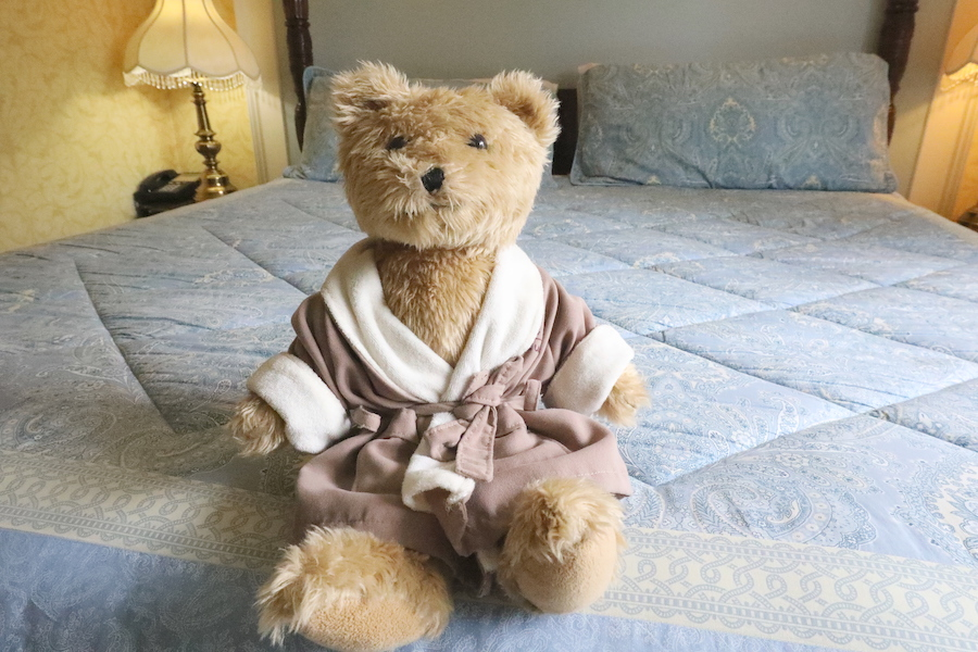 Teddy bear in a robe on a bed.