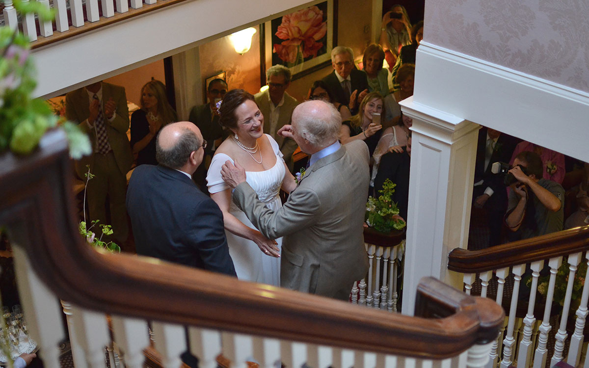 Couple getting married on stairs