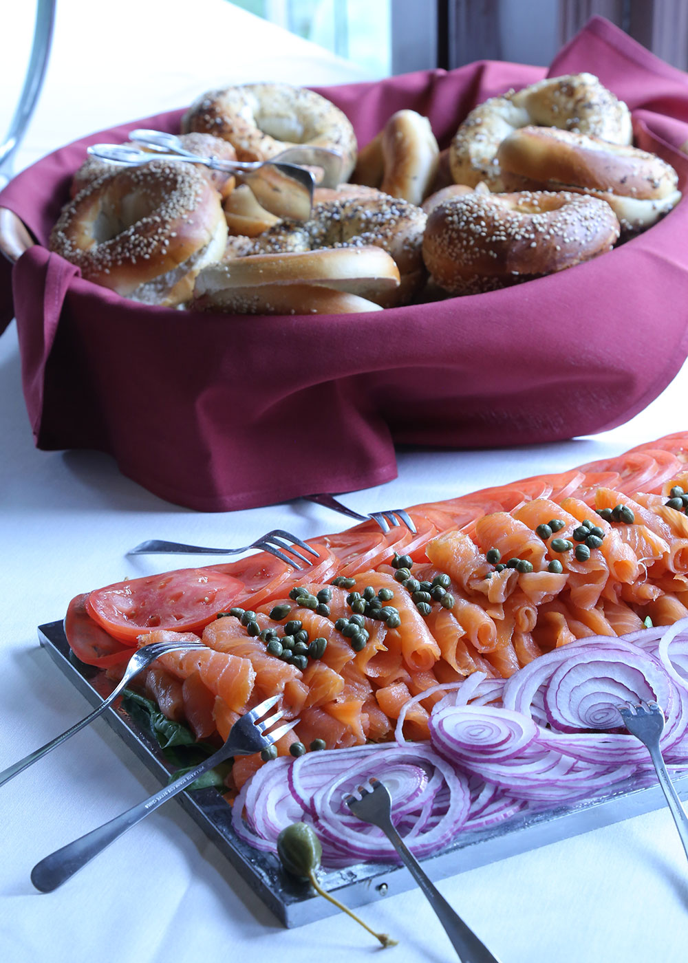 Picture of smoked salmon and bagels.